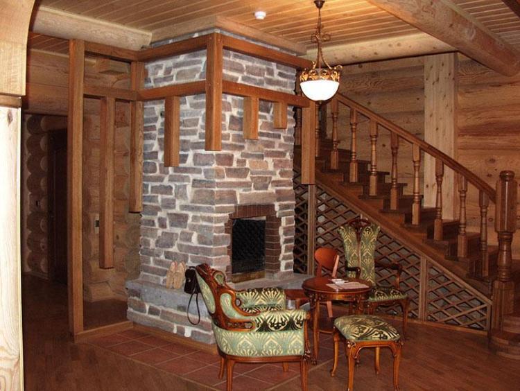 печь камин в деревянном доме фото