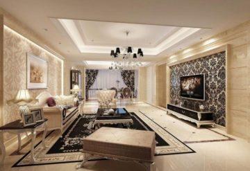 фото комбинированные обои в интерьере гостиной