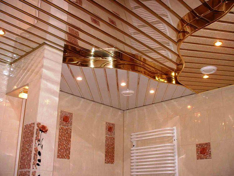 реечный потолок в ванной комнате фото 7