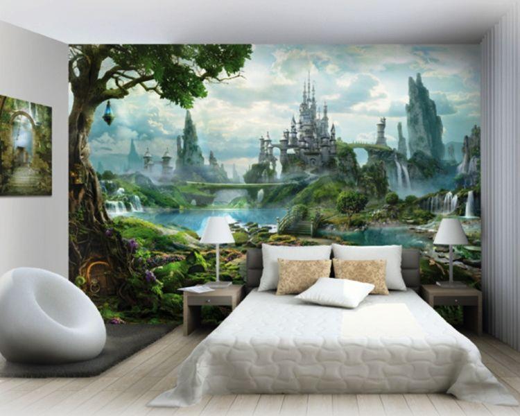 маленькая спальня с фотообоями дизайн фото