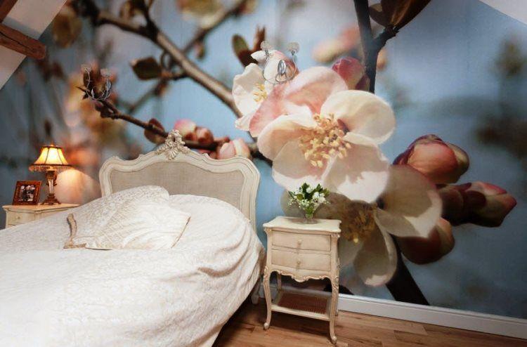 фотообои в спальню над кроватью фото цветы