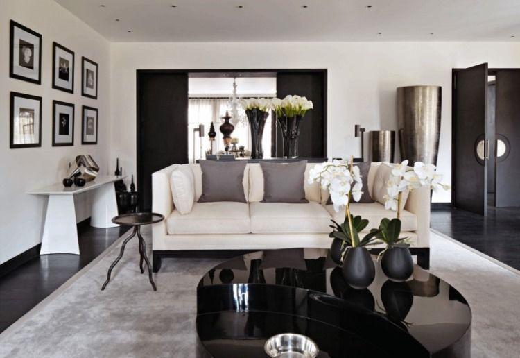 Черно белая гостиная фото