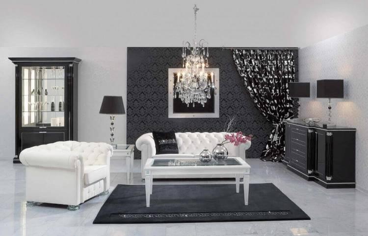 Черно белые обои в зале фото
