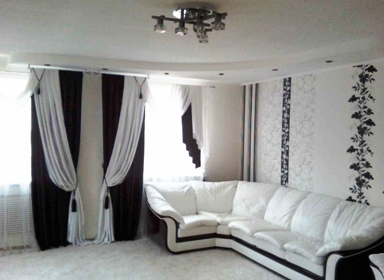 Шторы черно белые для гостиной фото