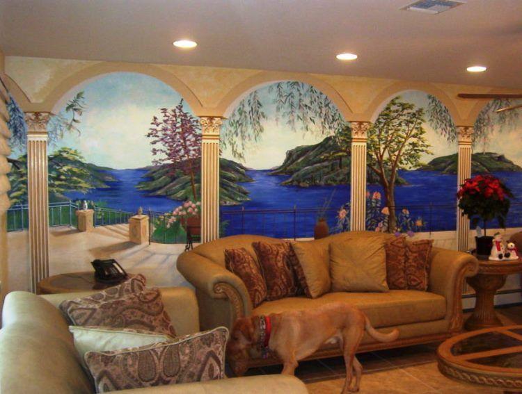 фрески в интерьере гостиной фото 20