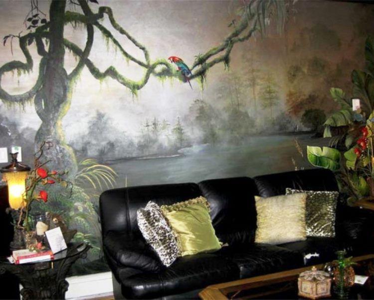 фрески в интерьере гостиной фото 9