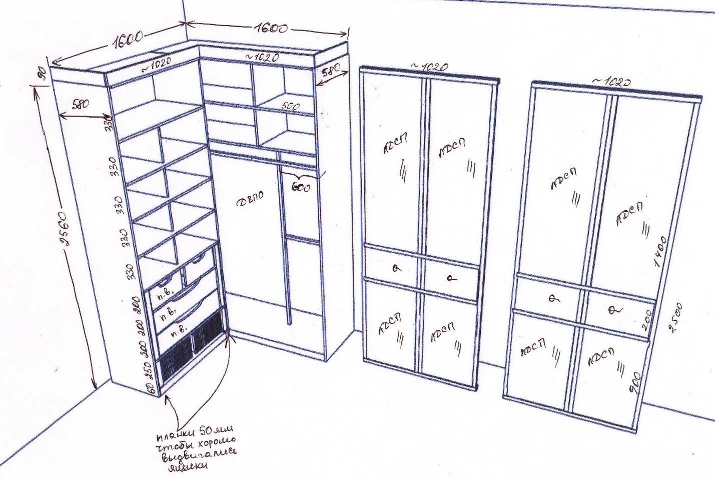 Встроенный угловой шкаф своими руками чертежи и схемы 341