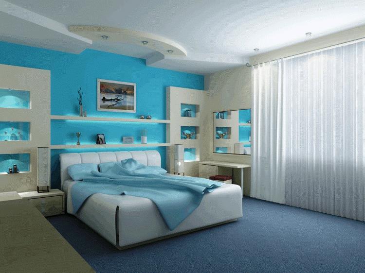 Спальня в голубых тонах фото