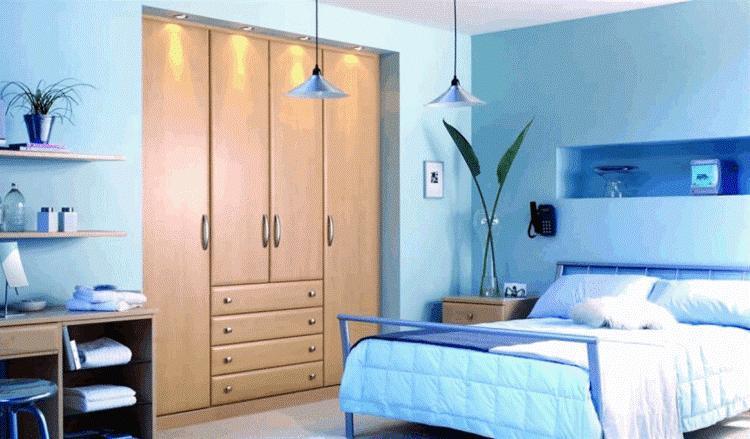 Спальня в голубых тонах дизайн фото