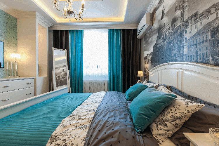 Голубые шторы в спальню фото