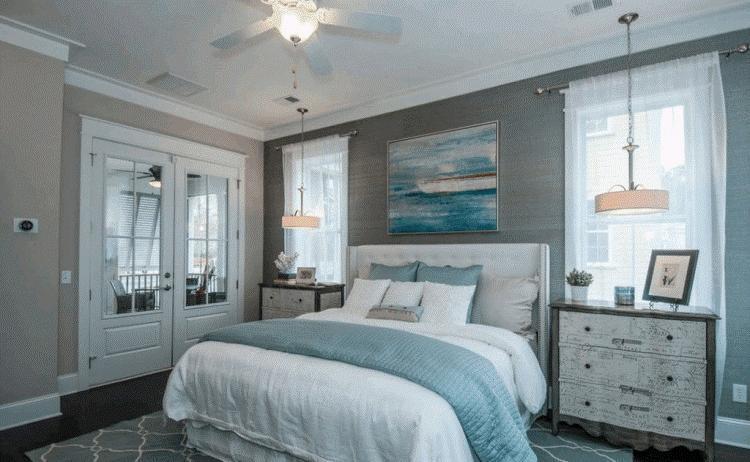 Спальня в бежево голубых тонах фото