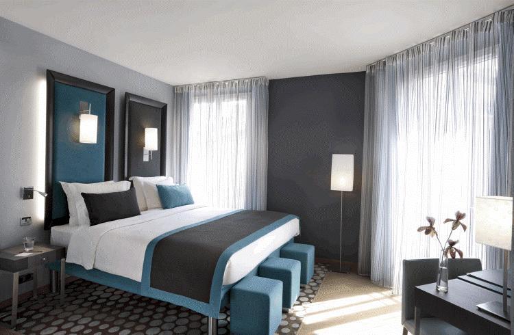 Спальня в серо голубых тонах фото