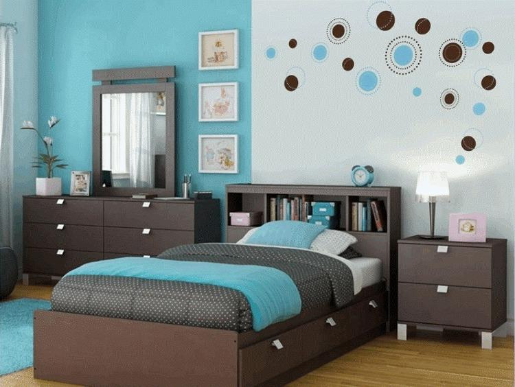 Интерьер спальни в голубых тонах фото