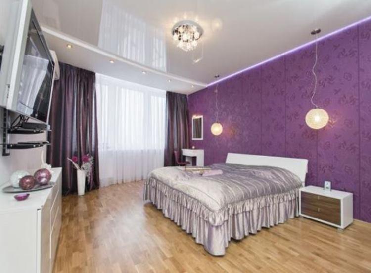 дизайн спальни в сиреневых тонах фото