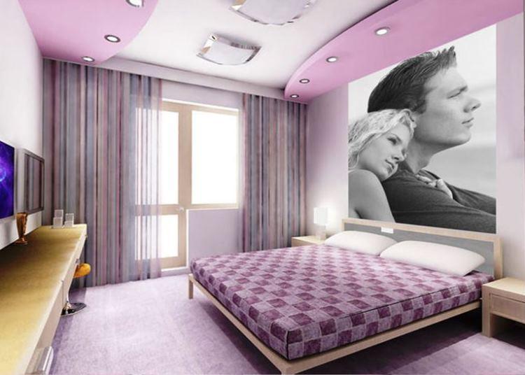 интерьер спальни в сиреневых тонах фото