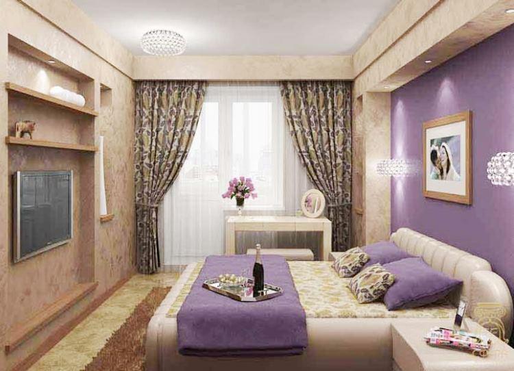 шторы в спальню сиреневого цвета фото