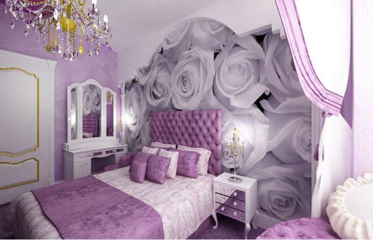 сиреневая спальня фото 17